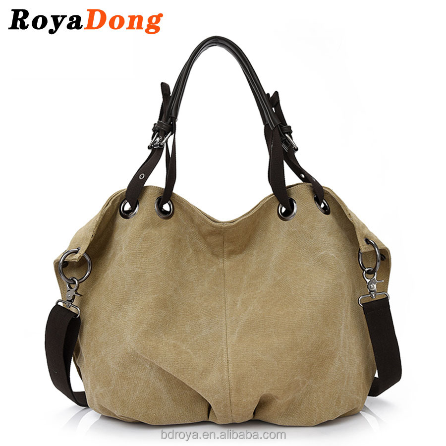 RoyaDong Women Shoulder Bags High Quality Vintage Canvas Messenger Bag Big Tote Bags