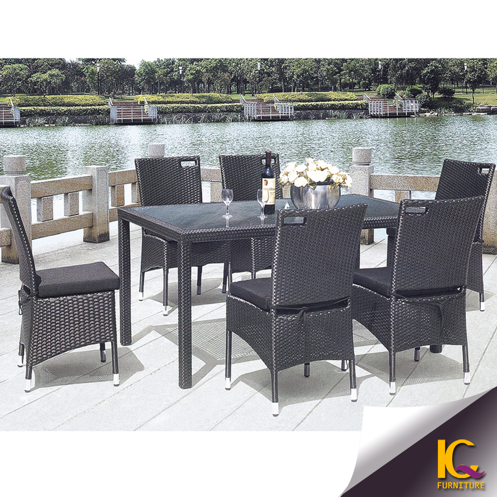 Outdoor rattan dining table living room used garden wicker for Outdoor dining room sets