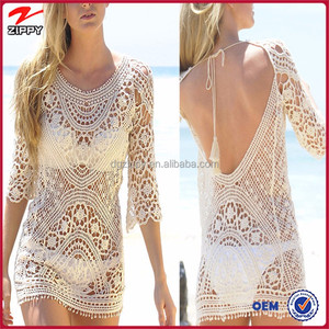 Best seller women fashion gorgeous scoop open back crochet beach dress