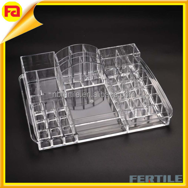 Clear Acrylic Cosmetic Organizer, Heavyduty make up organizer with Lipstick holder