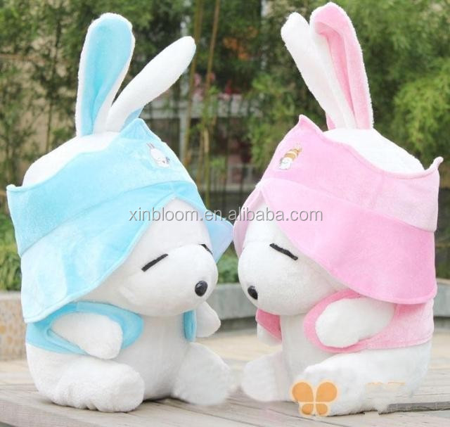 2016 plush Rabbit with cute desgins ware beauftiful clothes and cap ,suitable for the selling and gift.