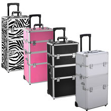 Professional Aluminum Case Trolley Beauty Box Makeup Case with Wheels Pink
