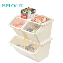 BELO Household Foldable Heavy Duty Plastic Storage Box Clamshell Cover With Lid