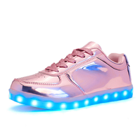 Led light pink low cut sport shoes glow sneakers running shoes