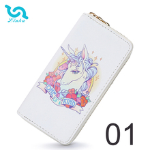 Wholesale 7 pattern cartoon printed women long wallet metal zipper card holder phone bag leather unicorn wallet