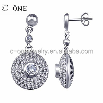 Top Fashion 3D Halo 92.5 Ture Silver Chandelier Earrings Bridal for Ladies