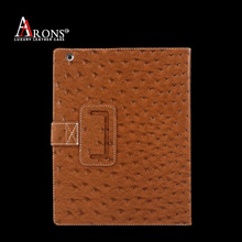 Book design genuine ostrich leather tablet cover case for ipad air 2