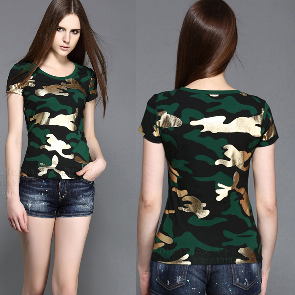 Custom Summer style 100%cotton all over print military camouflage t shirts women