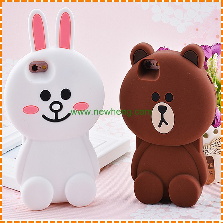 Lovely Cases 3D Cartoon Bear Toy Brown Soft Silicone Phone Case Cover for iPhone 7 7 plus