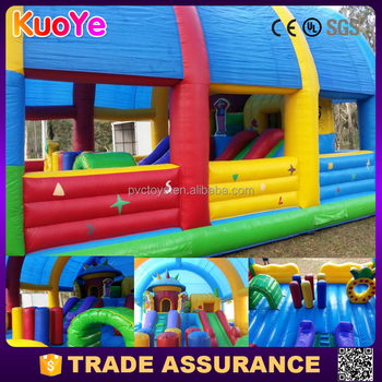 colorful kids funland inflatable trampoline playground with roof park rides amusement