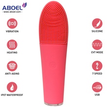 2018 New Waterproof Warm Eye Massage and Silicone Facial Cleansing Brush