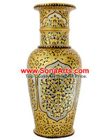 Flower Vase with painting using real gold foil