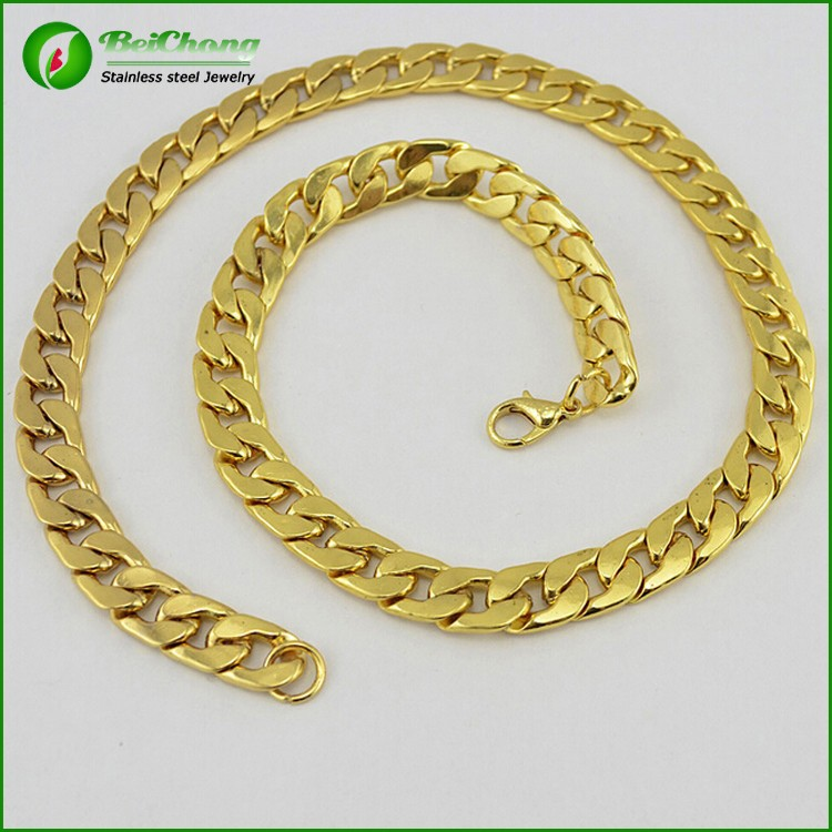 Fashion necklace jewelry yellow gold miami cuban link curb chain for men