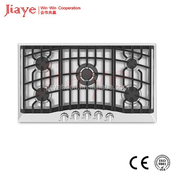 Hot In Middle East Market Popular Design Stainless steel Panel Cast Iron Pan Support 5 Burner Built-in Gas Hob JY-S5071