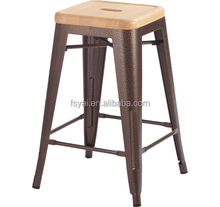 industrial Style Wood top seat commercial stackable metal bar stool