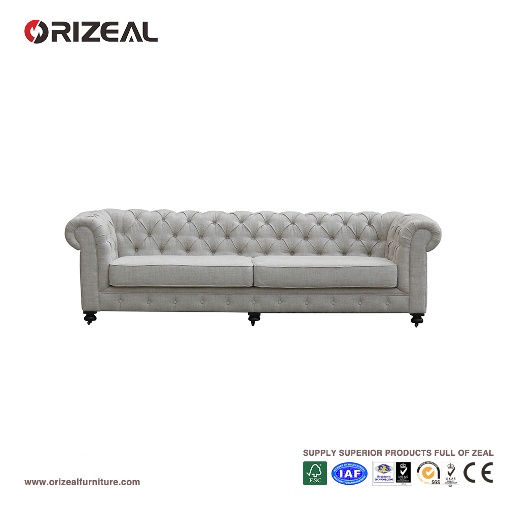 Orizeal Fabric Upholstered Chesterfield Sofa, Living Room Sofa Furniture(OZ-FS-2026)