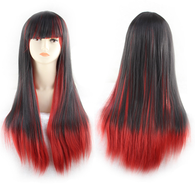 PGWG2095 New Design Comic Synthetic Fiber Black Grandient Red Woman Long Straight Hair Cosplay Wig