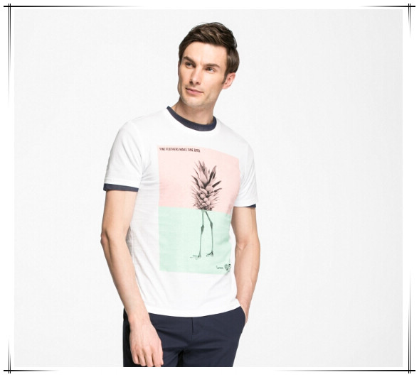Casual Knit Pique tubular Embroidered T-Shirt for Men