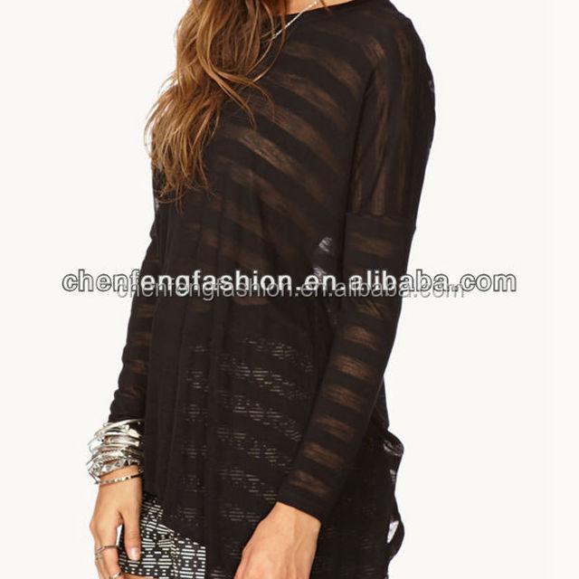 CHEFON Burnout Stripe Tulip Top Clothing Women CB0902