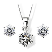 Trade Assurance 925 Sterling Silver jewelry set necklace with earrings