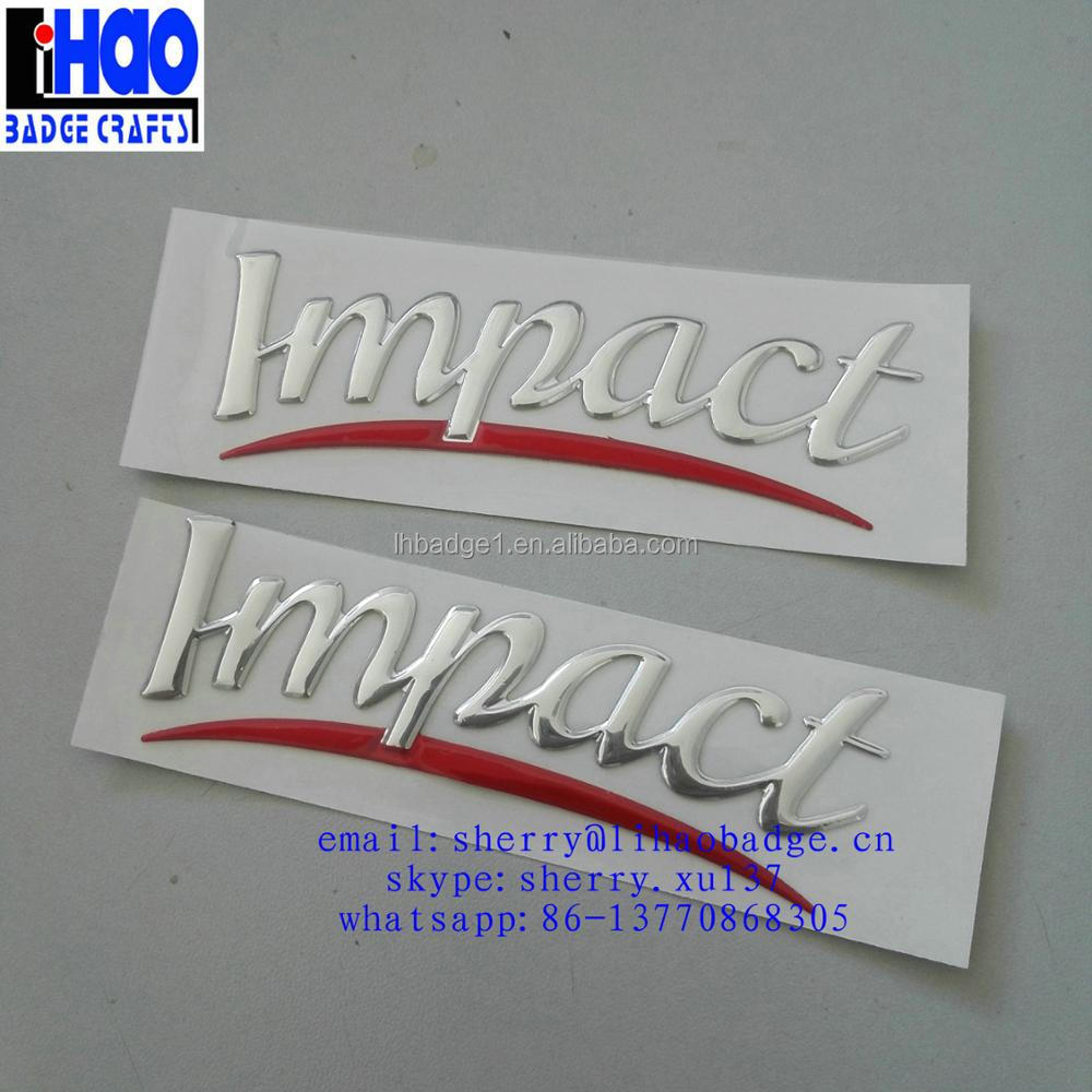 Soft PVC 3D Decal for Car Window,IMPACT Chrome Silver Vinyl Sticker