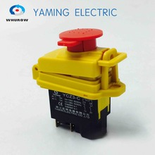 Electromagnetic switch 5 Pin On Off 2 Phase Momentary Push Button Protective cover waterproof YCZ3-C Emergency stop 15A 250V