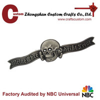 Metal material high quality brass skull badge