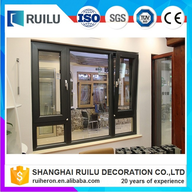 Exterior commercial system thermal break double glass aluminum fixed and tilt&turn window in factory price