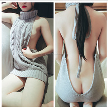 Korean fashion Sexy Tie Open Backless Long Virgin Killer Sweater Turtleneck Sleeveless White Sweaters Gray Pullover Anime Vest