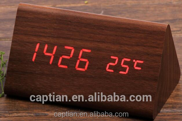 Low price small light digital led wooden table clock