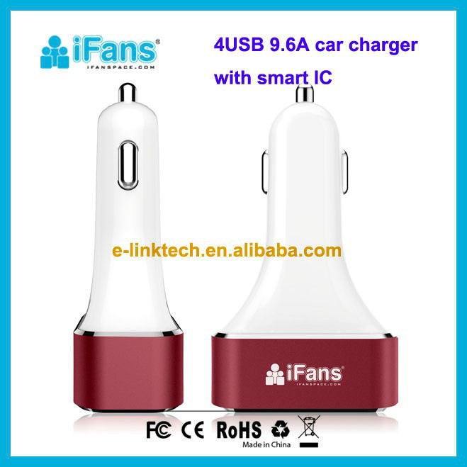 9.6A 4 usb port car charger with smart IC For iPhone 6 5 5S