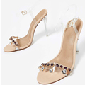 2018 Clear PVC Material Women Latest Ladies Sandals With Clear Heel Shoes