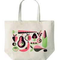 Vegetables And Fruit Print Cotton Tote