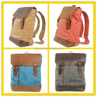 2016 Fashion Vintage Colors Women Washed Dip Dye Canvas Backpack Bag for Girls and Boys