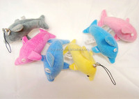 6cm cheap plush blue dolphin keychain toys / soft animal keychain sea animal