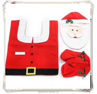 ebay hot selling bathroom Santa toilet seat cover and rug for christmas decoration