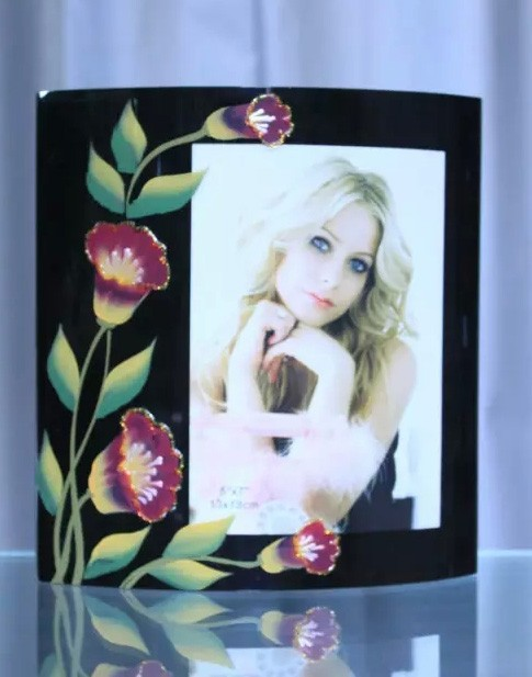 2015 New designs Oil Paining Black Color Beautiful Flower Sexy 4x6 Glass Photo Frame Fancy Gifts For Girls Beauty