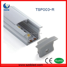 TSP003-R 17x15mm 1m/2m/2.5m shape Recessed Led Aluminum Profile with PMMA Diffuser/PC Cover for furniture lighting