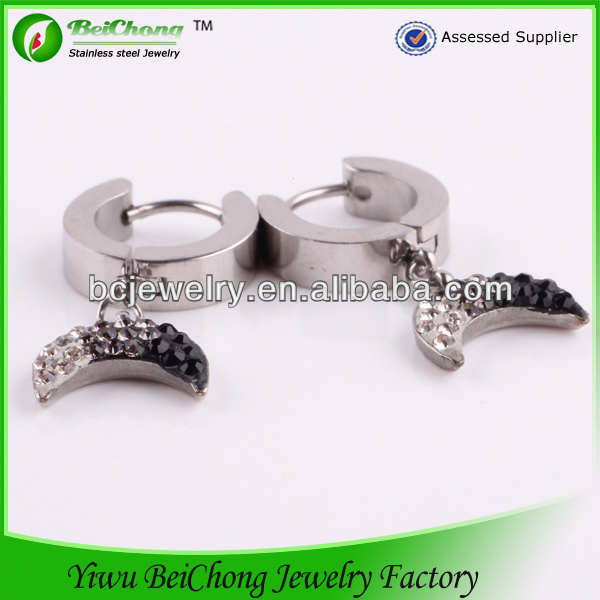 Cheap wholesale silver gold turkish jewelry earring design with half moon drop