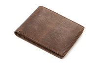 Moshi Wholesale High Quality Mens Dark Brown Genuine Cowhide Leather Wallet Leather Wallet Money Bag B-188