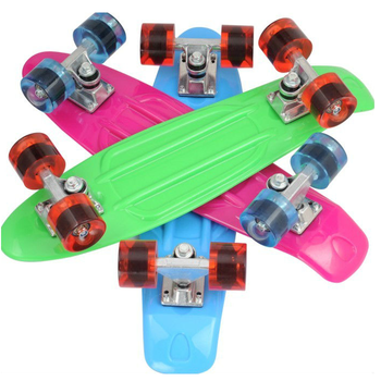 PU flashing light skateboard PLASTIC SKATEBOARD PP SKATEBOARD