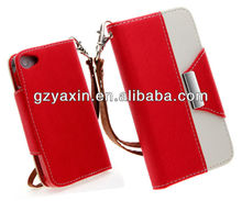 Wholesale wallet leather case for iphone 4 with card holder function