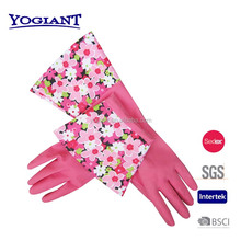 latex glove with pattern,glam glove with long cuff,lady kitchen glove with long sleeve