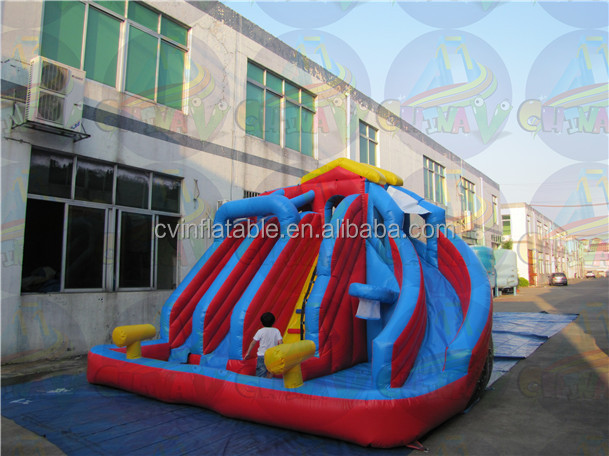 Cheap inflatable triplicate water slides, giant inflatable water slide for adult, commercial inflatable slide for rent