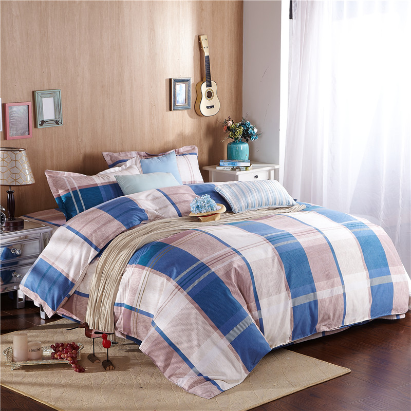 Plaid Stripe Cartoon Polyester Bedding set sheet quilt duvet cover white brown blue