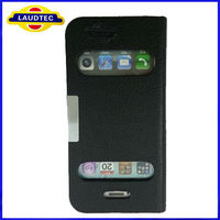 cheap high quality New Stylish Leather Chrome Case for iPhone 4 4S 5S,leather time show calling show Case Cover--Laudtec