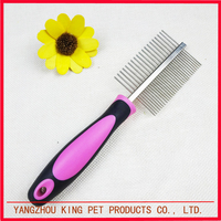 Puppy grooming pink color pet products dog comb with plastic handle