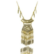 2016 Popular jewelry restoring ancient exaggerated geometry coin chain tassel necklace women gold alloy designs
