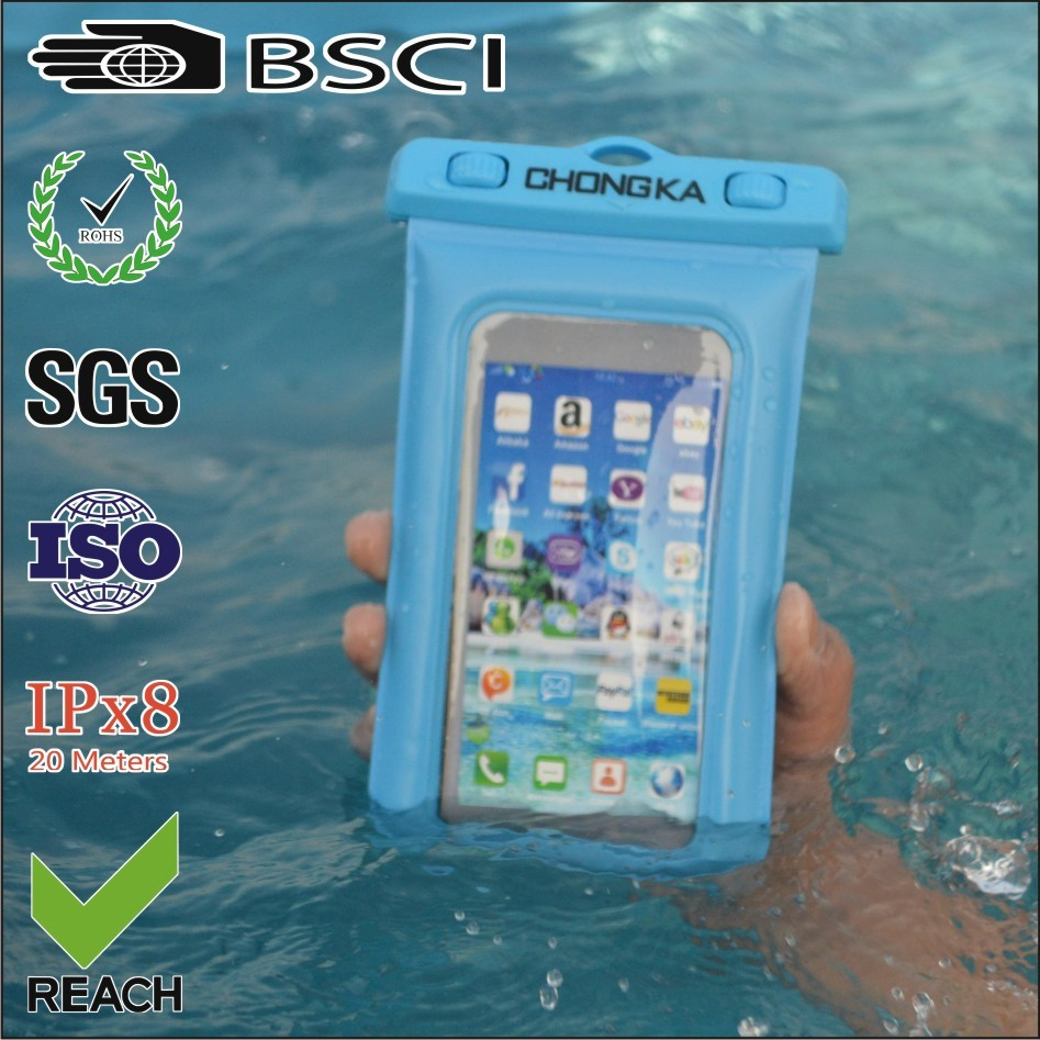 2015 Universal Fashion Custom Logo Waterproof Underwater Pouch Dry Bag Case Cover For iPhone Cell Phone Touchscreen