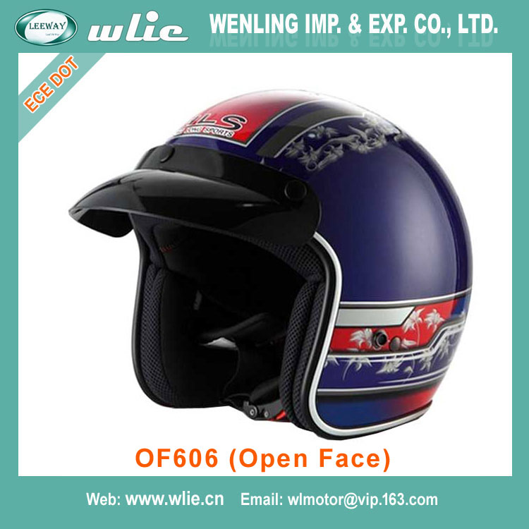 2018 New motorcycle helmet with sun visor factory price ece dot OF606 (Open Face)